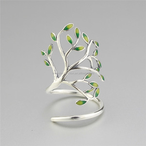 Yiwu supplier original design rings S925 sterling silver rings cute little tree rings