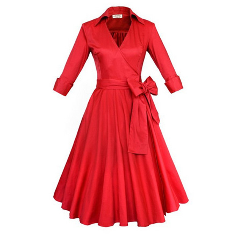 45199fc3a24c Buy Autumn Winter Audrey' Hepburn Style 1950s 60s Vintage Retro 3/4  Sleeve Inspired Rockabilly Pinup 50s Swing Wedding Party Dresses in Cheap  Price on ...