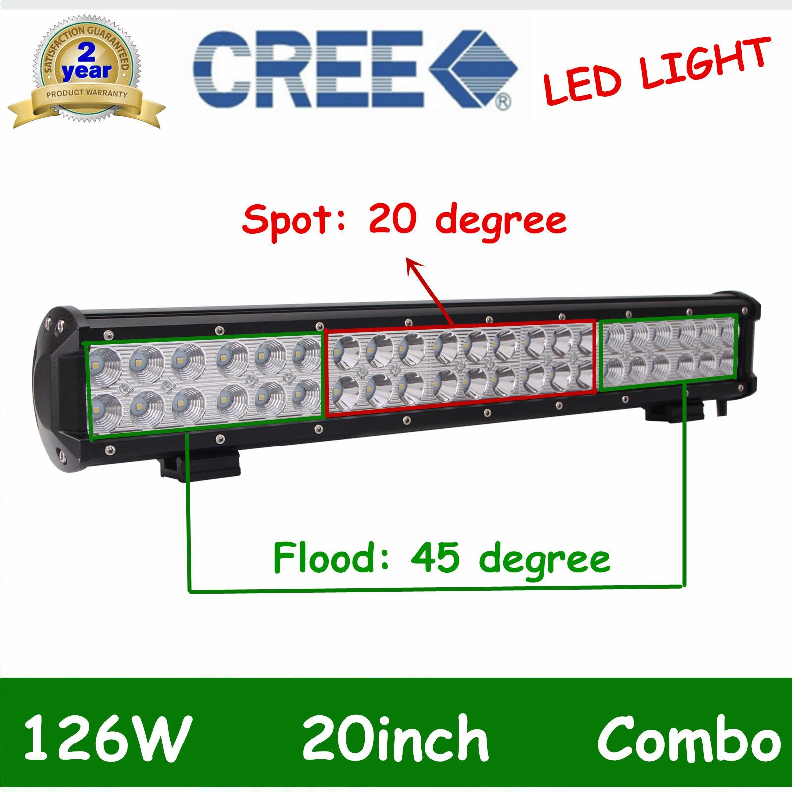 """20inch 504W LED LIGHT BAR COMBO Offroad DRIVING LAMP 4WD LENS VS 22"""" 24"""" 126W"""