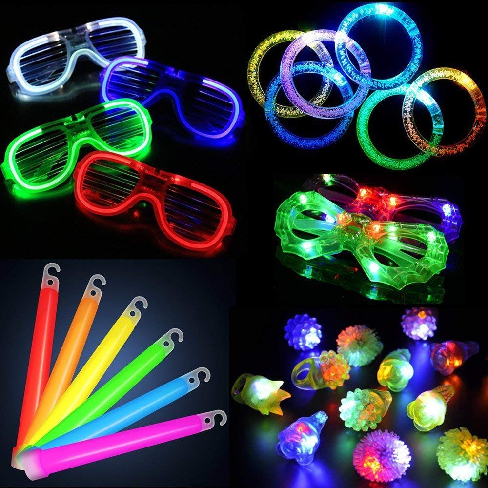ARDUX 30pcs/Set LED Party Toy Set, Party Favor Flashing Light with 6 Glow Sticks, 6 Bubble Bracelets, 6 LED Shutter Glasses, 6 Finger Lights and 6 Rubber Rings