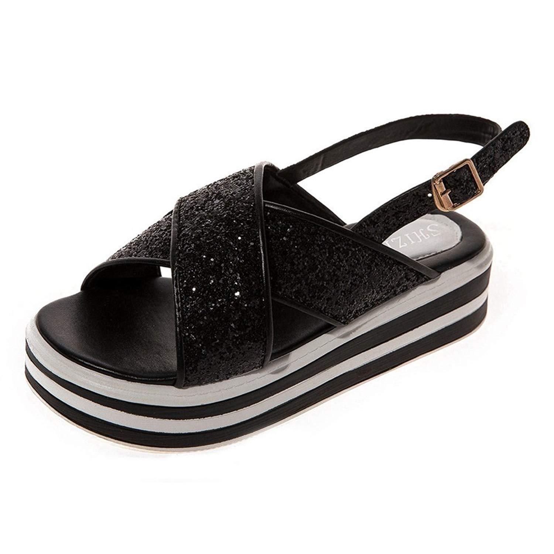 Womens Platform Buckle Sandals Glitter Criss Cross Ankle Strap Summer Beach Casual Shoes