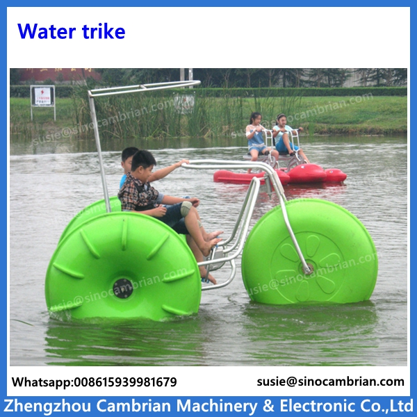 Colorfast HDPE wheels stainless steel water trikes with sunshade