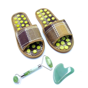 Natural jade stone foot reflex massage slipper for health-preserving