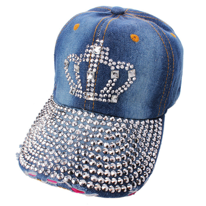 0596416149b Get Quotations · Korean Baseball Caps Princess Rhinestone Rivet Crown  Design Hip-Hop Hat Snapback Cap For Woman