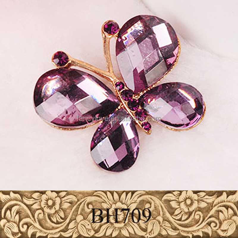 Cheap big purple crystal gemstone gold plated cute butterfly brooch