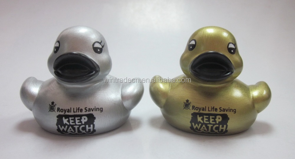 Silver/golden colour weighted floating rubber duck
