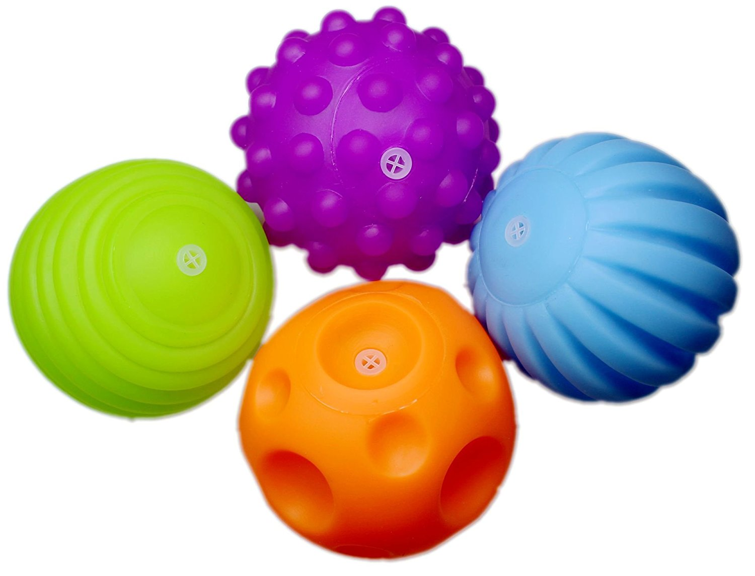 Set of 4 Sensory Balls – Textured Ball Set for Baby and Toddlers – Teether Ball Toys – Encourage Baby's Sensory Development