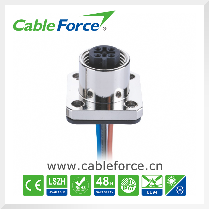 M12 Panel mount connector 5 pin female B Coding Flange connector Soldered with electrical wire CNC screw