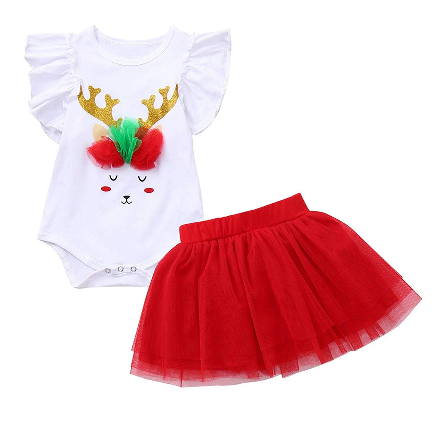 5edb675cc Get Quotations · AMSKY❤ Baby Outfit Hangers,Infant Baby Girls Short Sleeve  Christmas Antlers Jumpsuit Romper+