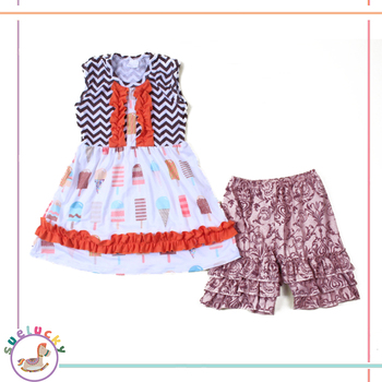 2pcs Icecream Chervon Pattern With Ruffle Bib Frock Dress Baby Girl