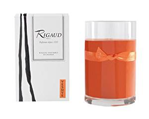 Rigaud Paris, Vesuve Large Candle Recharge (Refill) Bougie D'ambiance Parfumee, Grand Modele Recharge in Glass, Orange, 4.5 Inches Tall, 90 Hours Burn Life