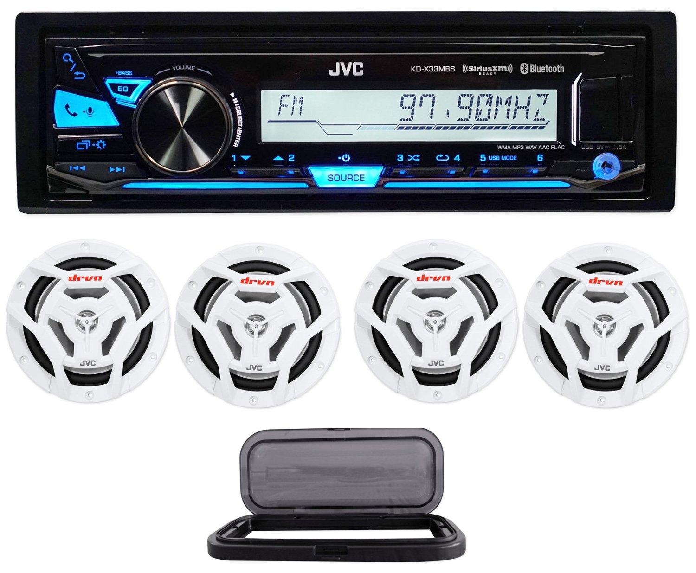 "Package:JVC KD-X33MBS 1Din Marine Digital Media Receiver W/Bluetooth, USB+Pandora Control+(2) Pairs of JVC CS-DR6201MW 6.5"" Waterproof Marine Speakers 600W+Marine Splash Guard Stereo Housing Case"