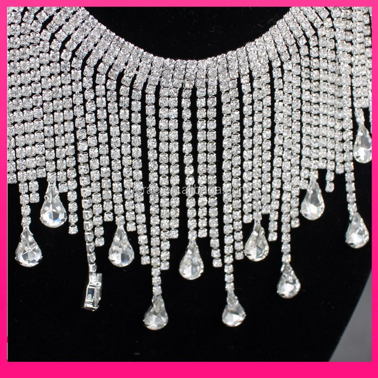 9.2cm width bling bling crystal cup chain rhinestone bridal trimmings chain