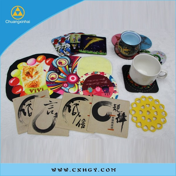 customise material cup mat coaster with rubber/PVC/ felt/EVA/silicone/leather/wooden/paper