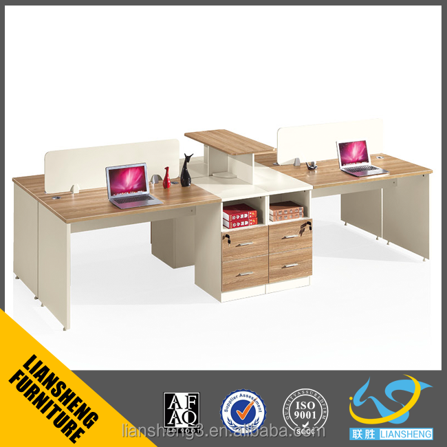 Durable MFC material office working station/computer table for 4 people