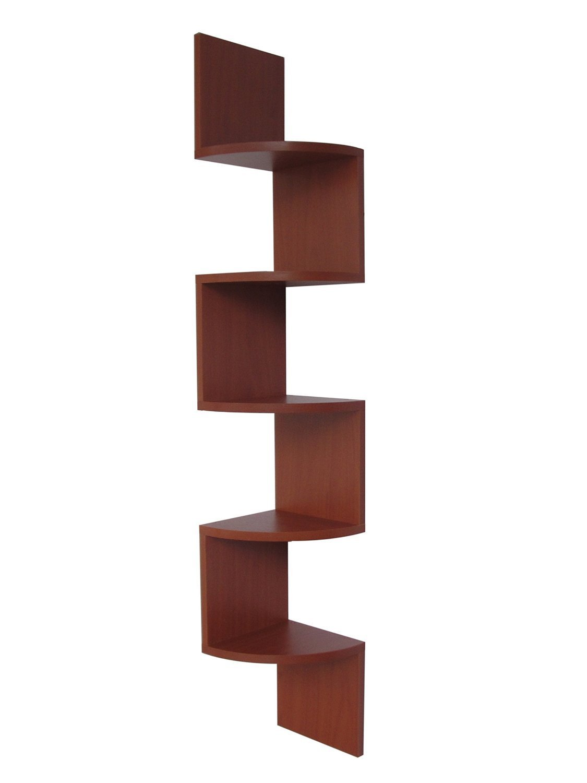 Stackable 5 Tier Oak Zig Zag Corner Wall Shelves - Cherry