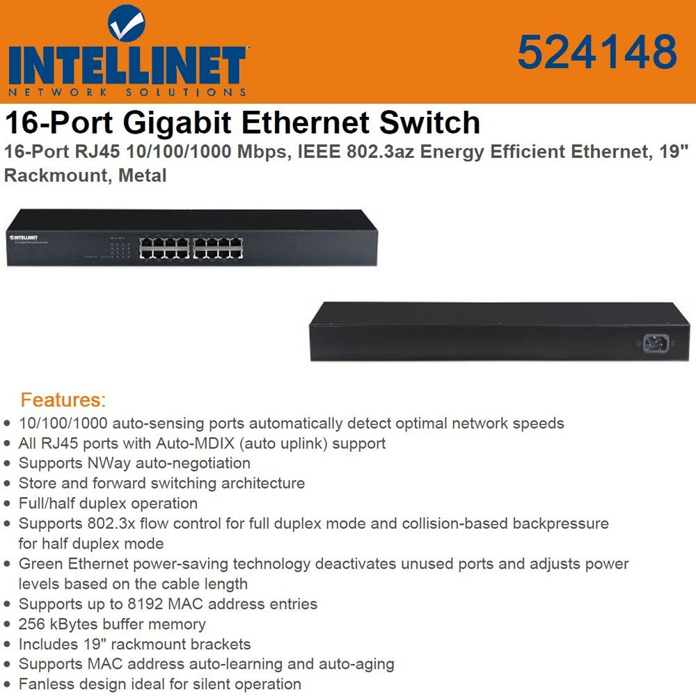 Intellinet 524148 Intellinet 524148 Gigabit Rack-Mount Ethernet Switch (16 Port)