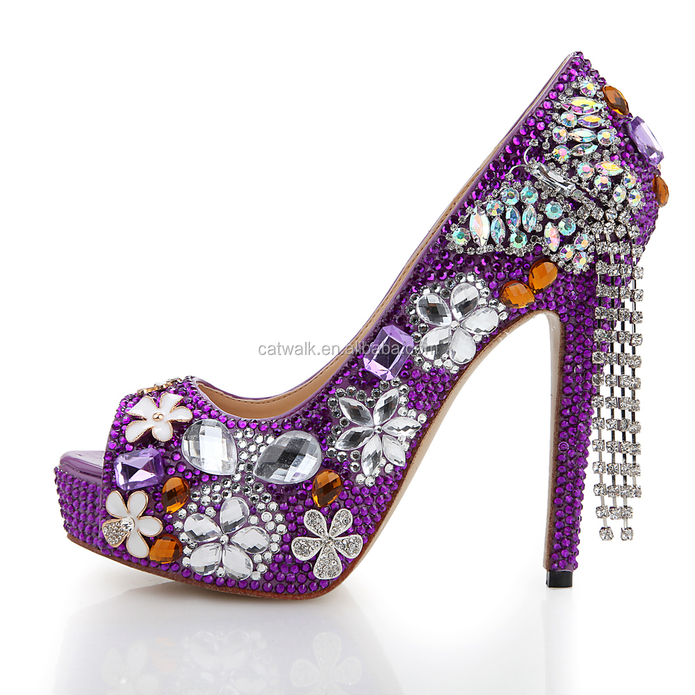 Purple Jeweled Heels