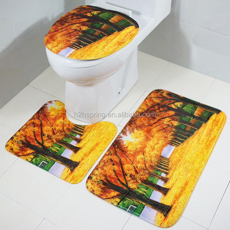 Bathroom Luxury  Beauty Accessories Custom Printed 3D Toilet Foot Mat Set