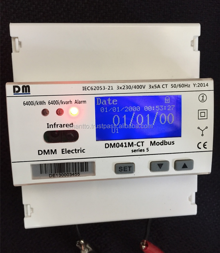 DOT LCD Display DM 041 m series 5 three phase multi rate , multi function energy meter with modbus RTU protocol