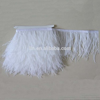 White Color Feather Trim Ostrich For Large Feathers
