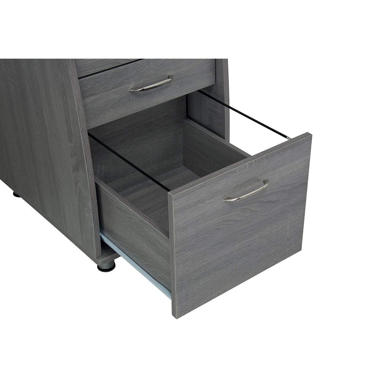 MyEasyShopping Modern Designs Grey MDF Multifunctional Office Desk With File Cabinet Storage U Mobile Lateral Executive Filing