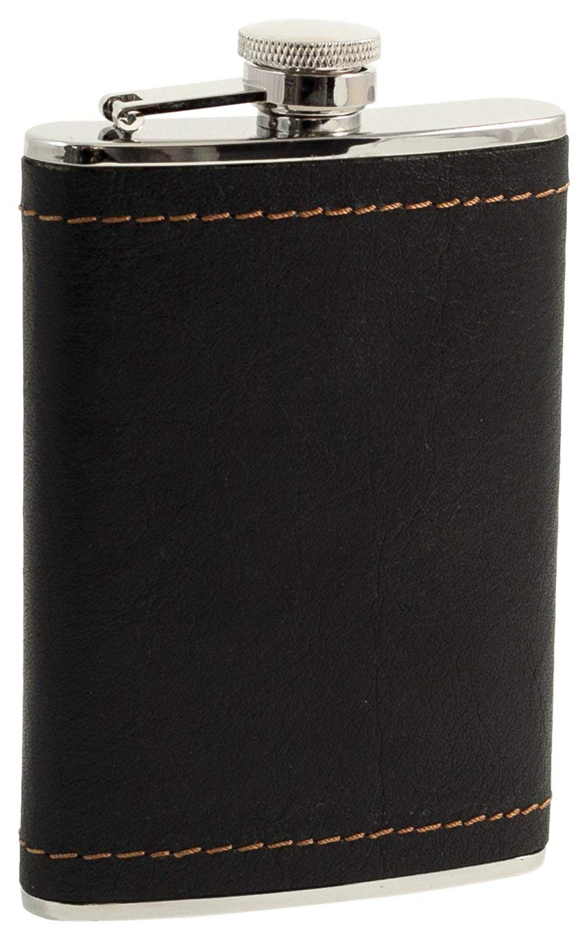 Get Quotations · Bey-Berk AJ-FS318 Stainless Steel Black Leather   Mustard  Stitch Flask with Captive 3a0448269918