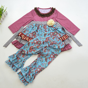 high quality children girl's fall winter ruffle outfits kid girl polka dot boutique clothing