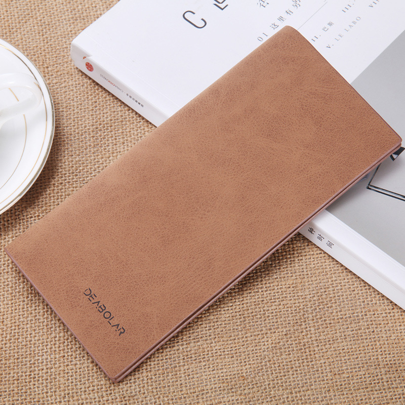 PU leather wallet fashion ultra-thin vintage matte long mens wallet