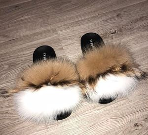 2019 Good Price Designer Raccoon/Fox/sheep fur Slippers Slides Design Woman Fur Slides