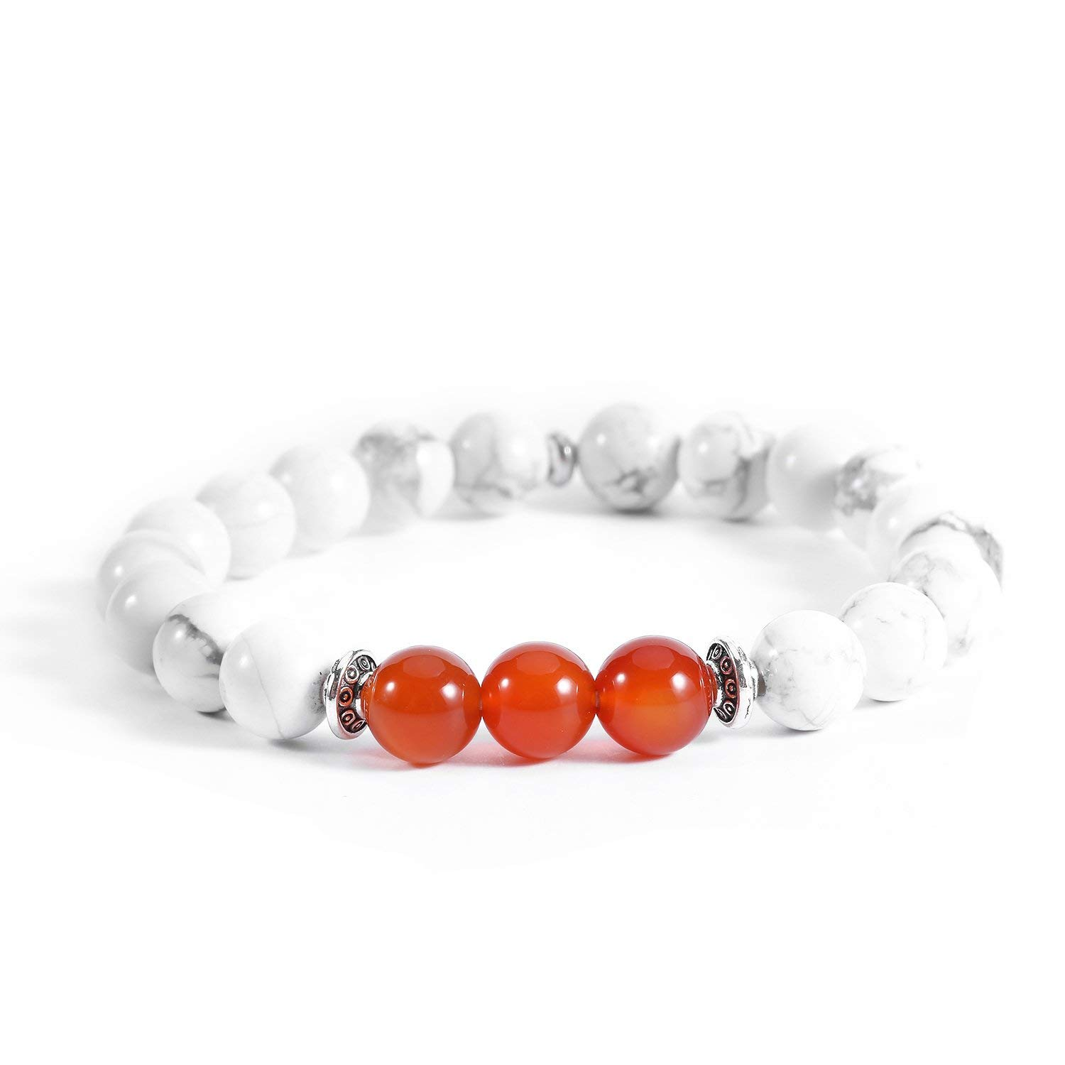 """Poshfeel Agate & White Howlite 8mm Beads Stretch Bracelets, 7.2"""" Red"""