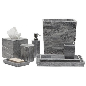 China Suppliers Grey Natural Marble Finishs Bathroom Home Accessories with Resin Effect Set of 7pcs for Bath Decor Photos
