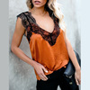 Women's Lace Patchwork Sling Tops V-Neck Sleeveless T-Shirt Casual Loose Summer Vest