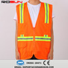 cheap stock safety vest mesh net fabric hi-vis vest with zipper and 4 pockets