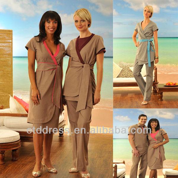 Spa uniforme spa personal usan tunicas uniformes del hotel for Spa uniform alibaba