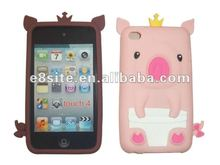 Lovely Crown Pig 3D Silicon Cover Case For iPod Touch 4