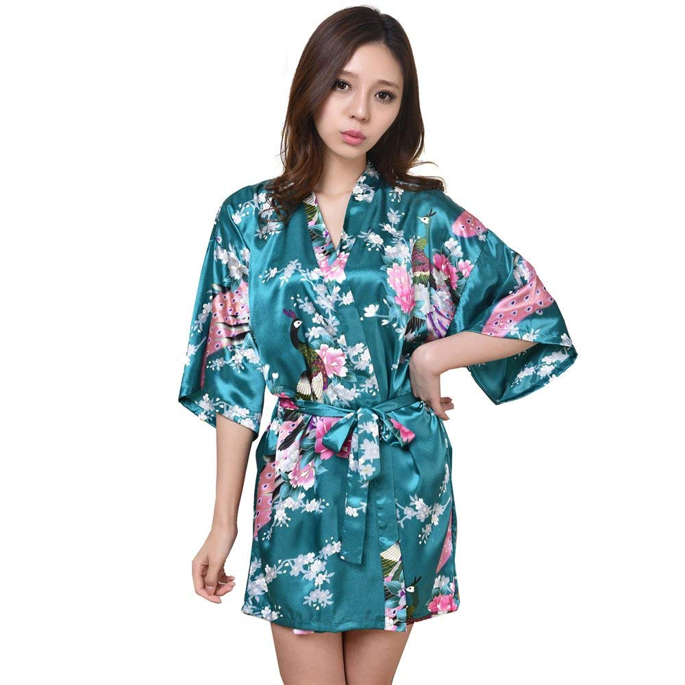 f936419c61 Get Quotations · ALJL Sleeping robe Silk women s satin kimono Short bathrobe  Comfortable pajamas Loose bathrobe Sweatshirt fashion Dark