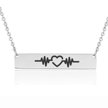 Heart beat Clavicle Necklace Love And Music Symbol Necklace Customizable Stainless Steel Necklace