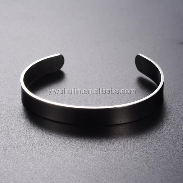 MS014 Yiwu Huilin Jewelry Blank Stainless Steel can engraved letter high polish flat bracelets bangle