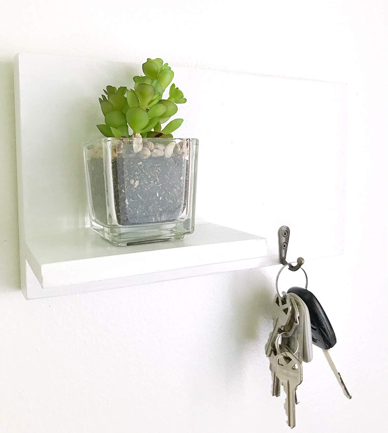 Entry Way Shelf, White Shelf, Wooden Shelf, Floating Shelf, Key Hanger, Key Holder, White Key Holder Shelf, Shelf With Hooks, Entry Way Organizer, Coat Rack, White Shelves