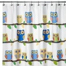 Get Quotations · What A Hoot OWL Fabric Shower Curtain Yellow Blue Green  Sequin Eyes Felt Leaves