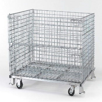 Foldable Wire Mesh Storage Cages Wire Mesh Containers Wire Storage Basket  With Wheels