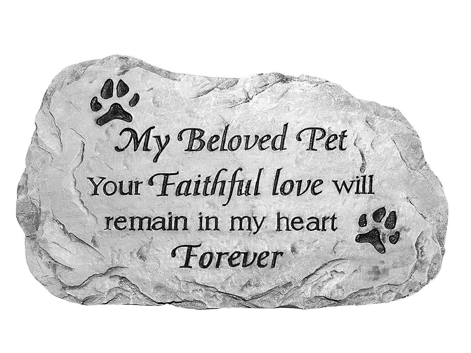 Pet Memorial Stone Plaque - Flagstone - Pet Memorial Marker Reads My Beloved Pet Your Faithful Love Will Remain in My Heart Forever (Flagstone)