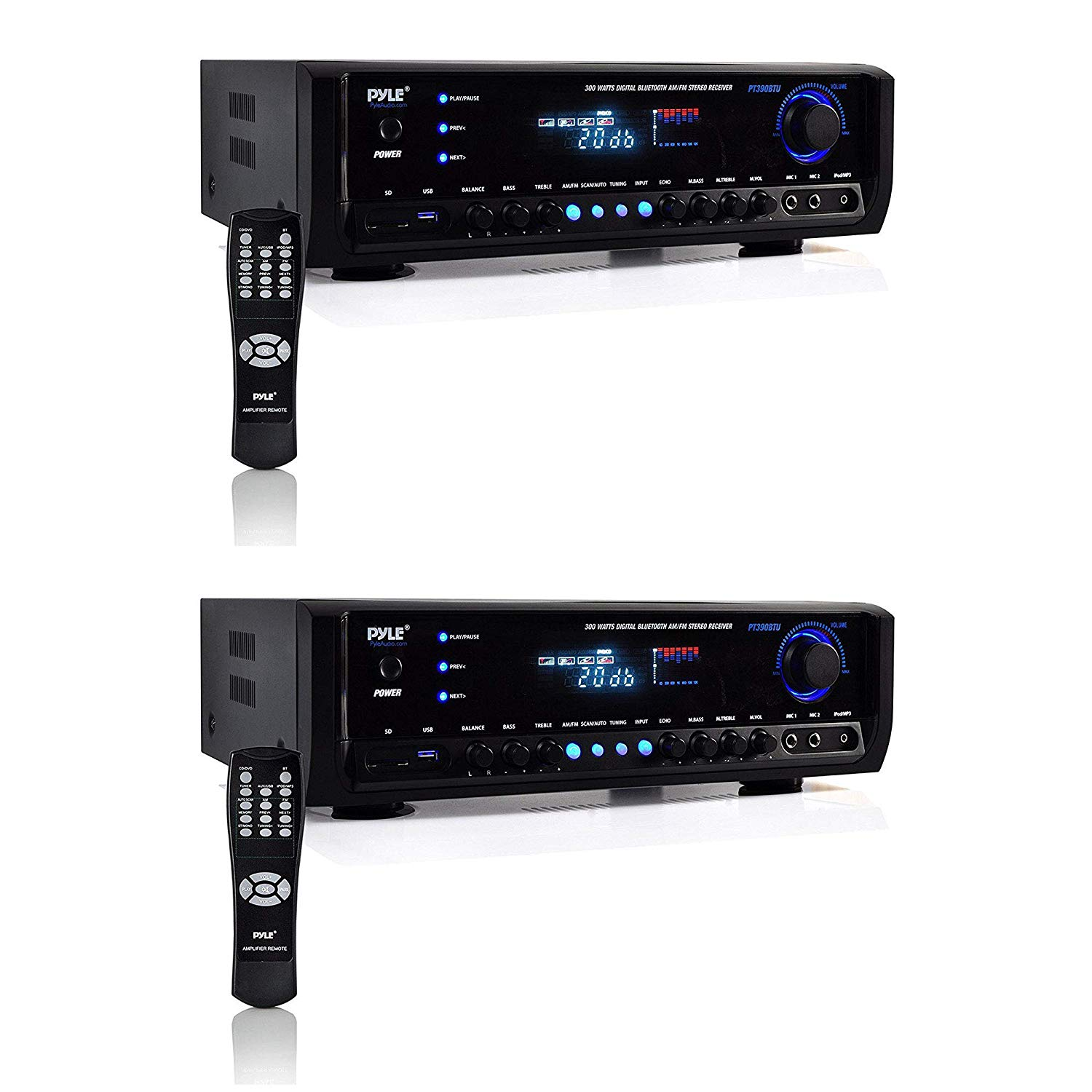 Pyle Digital Home Theater Bluetooth 4 Channel Radio Aux Stereo Receiver (2 Pack)