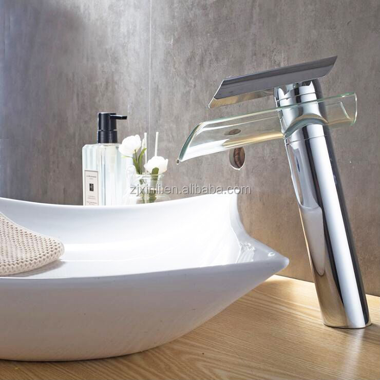 X8308B2 Brass Body with Glass Shelf of High Quality Glass Waterfall Basin Faucet