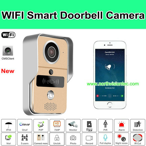 Wifi smart video doorbell with app control and RFID card unlock function