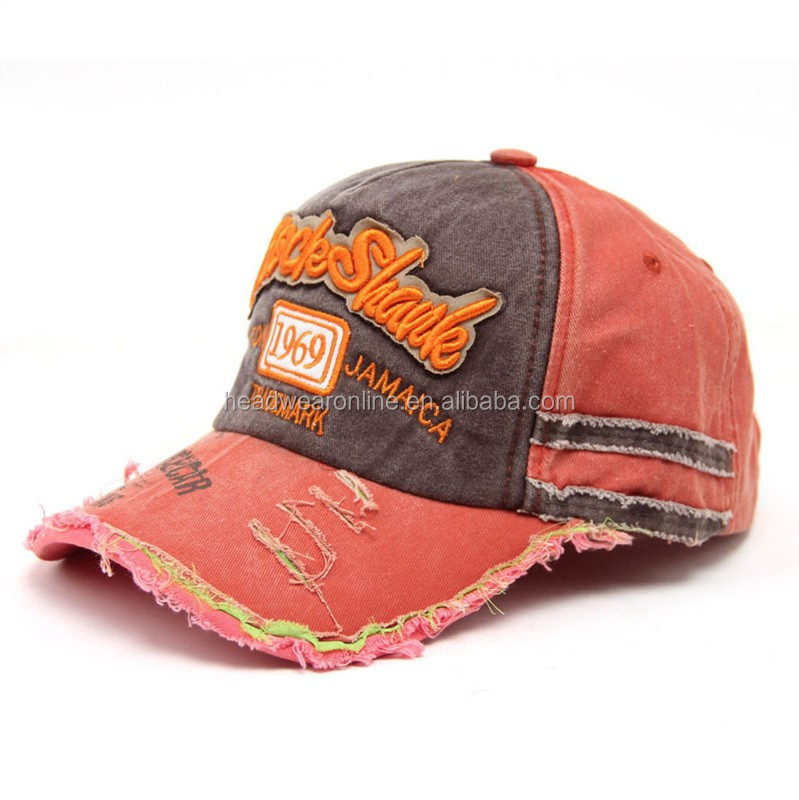 New Style Distressed Washed Denim Sport Cap With Your Own Design