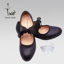national standard black leather dance tap shoes