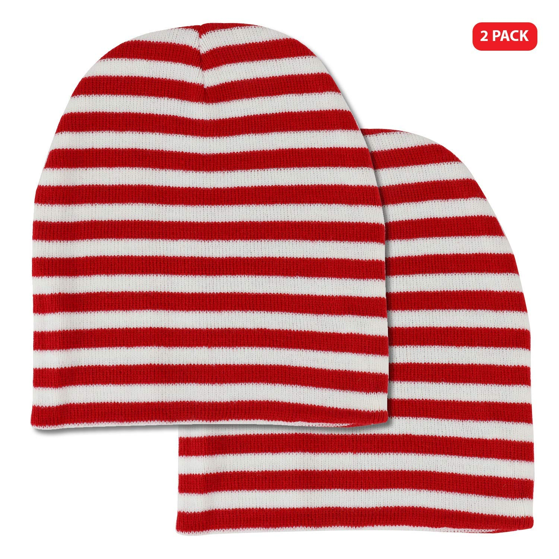 e5338c40ad4 Get Quotations · Armycrew Red White Stripe Short Skull Waldo Beanie