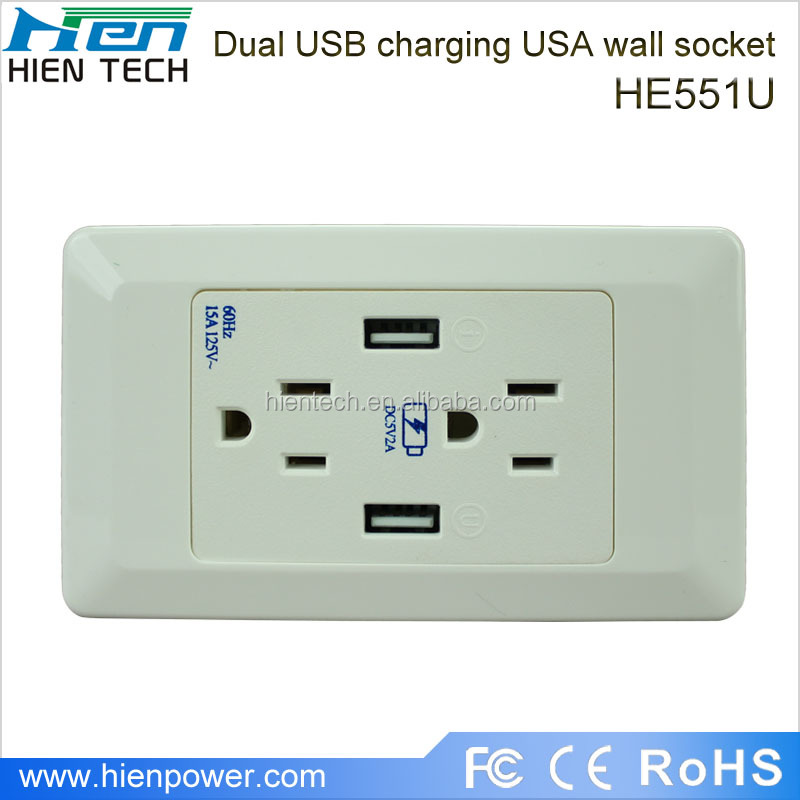 1amp Dual Usb Port Uk Panel Socket Wall Charger Plug Power Adapter ...